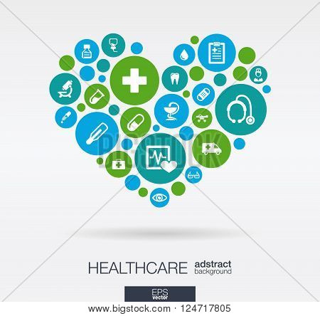 Color circles with flat icons in a heart shape, medicine, medical, health, cross, healthcare concepts. Abstract background with connected objects in integrated group of elements. Vector illustration.