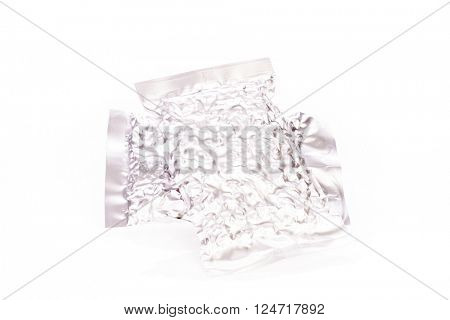 Foil bag package on white background