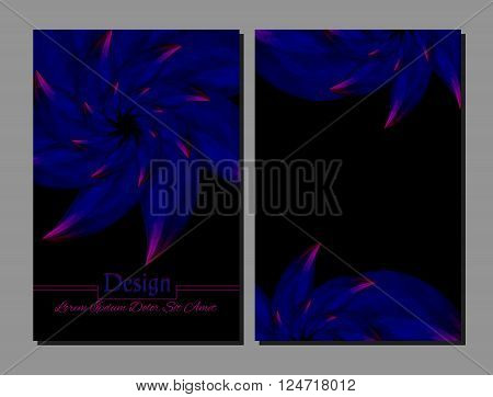 Set of vector design templates. Corporate Identity kit or business kit with artistic abstract colorful design for your business. Vector abstract booklet cover. Beauty brochure. Blue pink and black