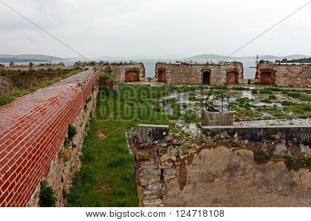 Detail of St. Nicholas fortress. Fortress is located in the town of Sibenik on the eastern shores of the Adriatic in central Dalmatia Croatia