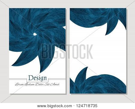 Set of vector design templates. Corporate Identity kit or business kit with artistic abstract colorful design for your business. Vector abstract booklet cover. Beauty brochure. Blue and white