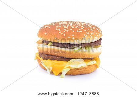 Beef Burger Isolated On White Background