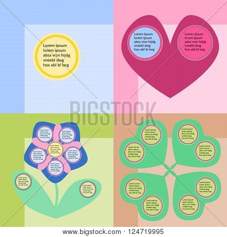 Round infographics fields on colorful background with heart and flower, sun and four-leaf.