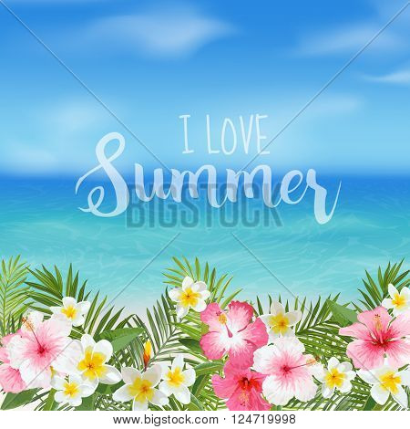 Tropical Background. Palm Leaves and Flowers. Sea View Background. Vector.