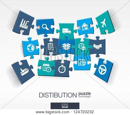 Abstract distribution background with connected color puzzles, integrated flat icon. 3d concept with Delivery, service, shipping, logistic, transport, market pieces in perspective. Vector illustration