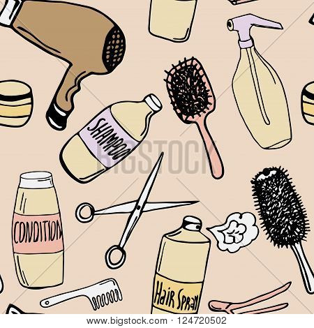 Seamless pattern with hairdressing articles. Hand drawn illustration in old-fashioned style