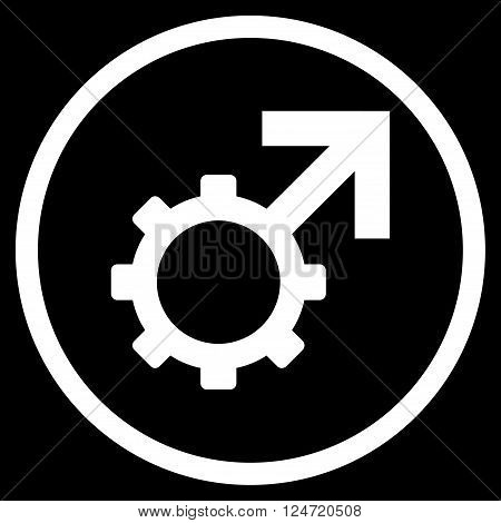 Technological Potence vector icon. Image style is a flat icon symbol inside a circle, white color, black background.