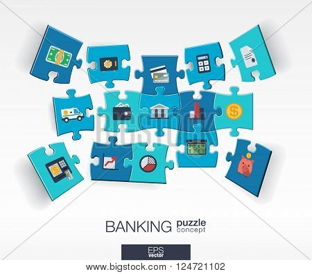Abstract banking background with connected color puzzles, integrated flat icons. 3d infographic concept with money, card, bank and finance pieces in perspective. Vector interactive illustration.