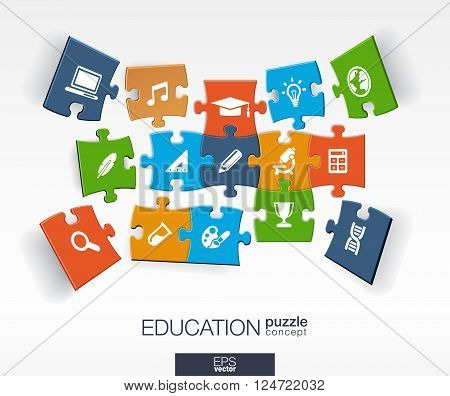Abstract education background, connected color puzzles, integrated flat icons. 3d infographic concept with school, science, geography, biology, microscope pieces in perspective. Vector illustration.
