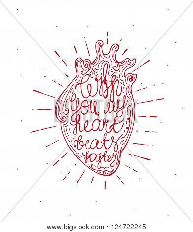 Vintage heart with sunburst and hand written text