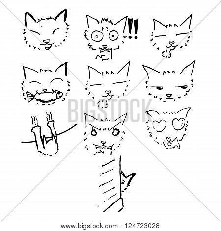 Cat sketch drawing in Japanese cartoon style vector illustrations