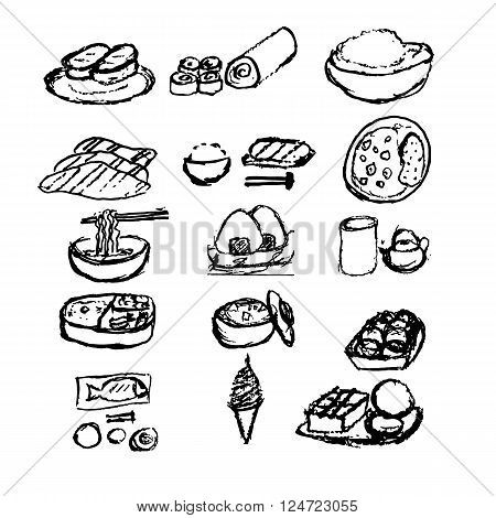 Japanese food  hand draw style with colored set  12 item  : Sushi, Fried,salmon slices pork,rice bun, noodles,tea,Grilled fish,softcream, honey toas,squid bun,tofu soup,curry,lunch box