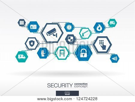 Security network abstract background with lines, polygons, and integrate flat icons
