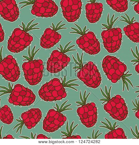 Summer fruit illustration. Seamless vector background with red raspberry. Cute raspberry pattern.