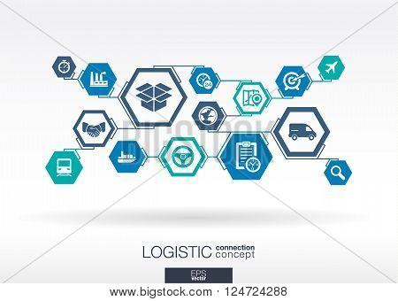 Logistic network. abstract background with lines, integrate flat icon