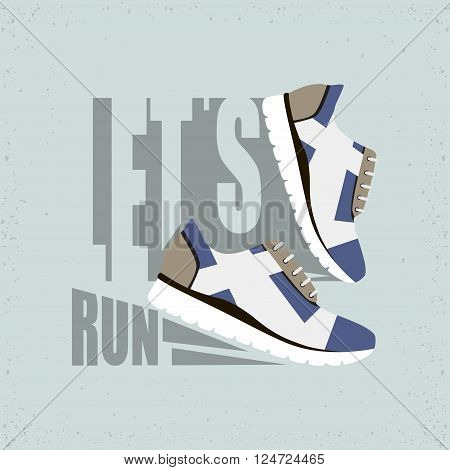 Flat vector illustration with Text - Let's run. Running shoes with shadow. Ready design for sport shop,sporting events, etc.