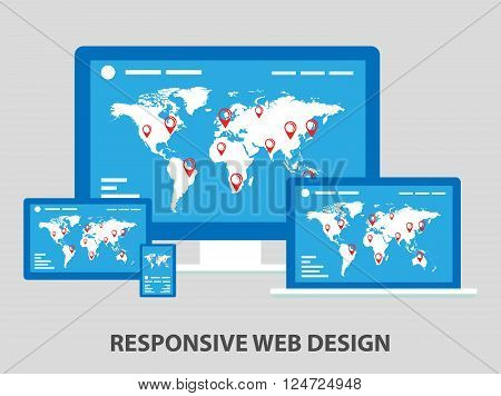 Flat responsive web design composition for any device.