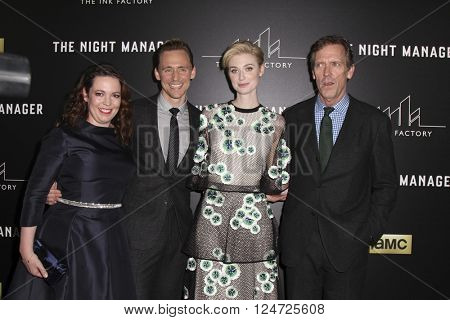 LOS ANGELES - APR 5:  Olivia Coleman, Tom Hiddleston, Elizabeth Debicki, Hugh Laurie at the The Night Manager Premiere Screening at the Directors Guild of America on April 5, 2016 in Los Angeles, CA