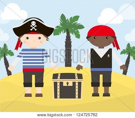 Two cartoon characters of pirates with treasure chest on the island. Vector illustration of pirates