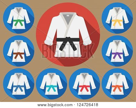 Karate suit icon with long shadow. Vector illustration of a flat.