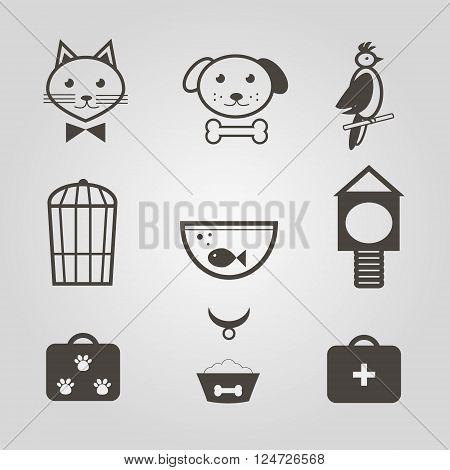 Pets icons. Set of mono symbols for pets shop. Vector illustration