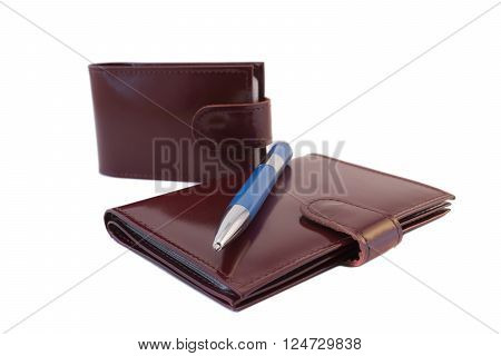 business card holder, pen and Notepad on white background