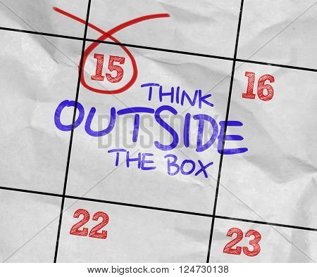 Concept image of a Calendar with the text: Think Outside The Box