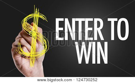 Hand writing the text: Enter to Win