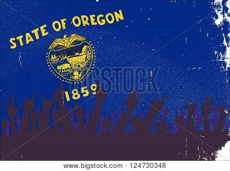 Audience happy reaction with Oregon State flag background