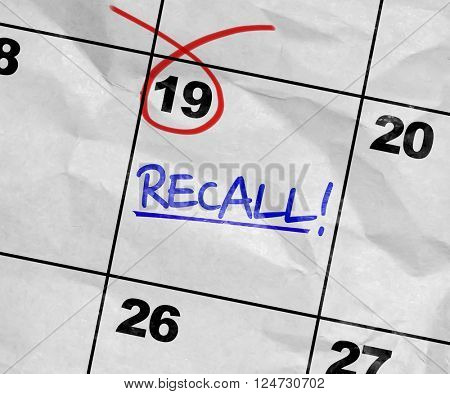 Concept image of a Calendar with the text: Recall