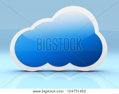 A cloud symbol. A 3D rendered illustration.