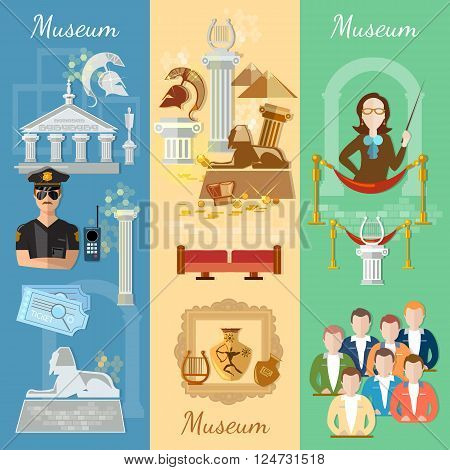 Museum banner antiquity and natural science exposition ancient civilizations tour guide at the museum group excursions vector illustration