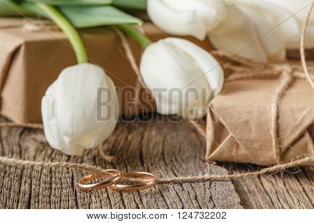 Hand Crafted Gift Box And Tulips