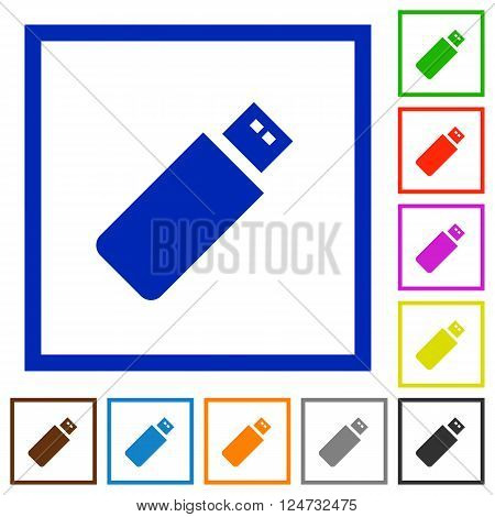 Set of color square framed pendrive flat icons on white background