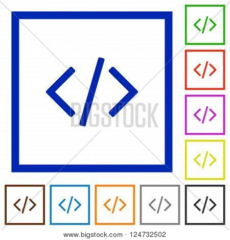 Set of color square framed Programming code flat icons on white background