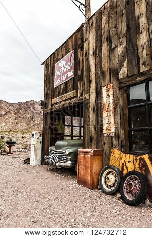 NELSON USA - JUNE 10 : Rusty old vintage car in abandoned mechanic garage Nelson Nevada ghost town on June 10 2015