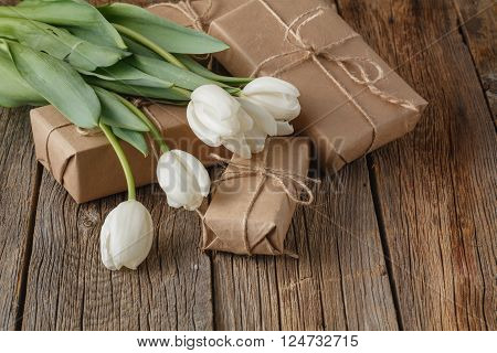Hand Crafted Box Present With Tulips Flowers