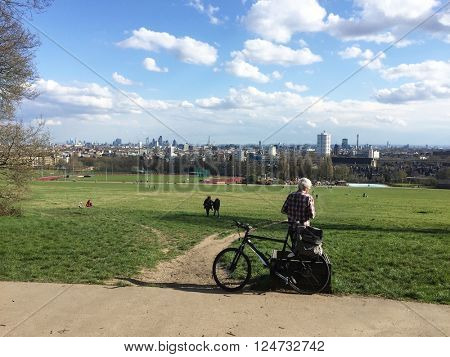 LONDON - APRIL 5: The London Skyline viewed from Parliament Hill on April 5, 2016 on Hampstead Heath, London, UK.