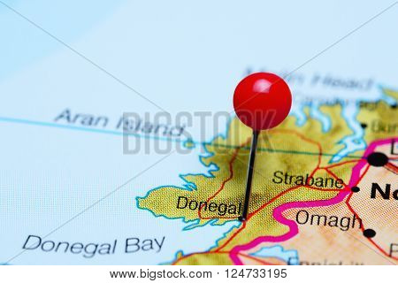 Donegal pinned on a map of Ireland