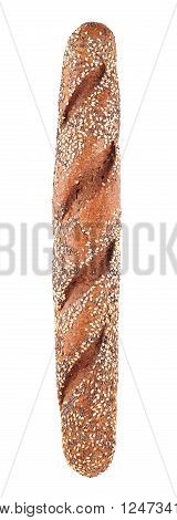wholegrain baguette with poppy and sesame, isolated on white