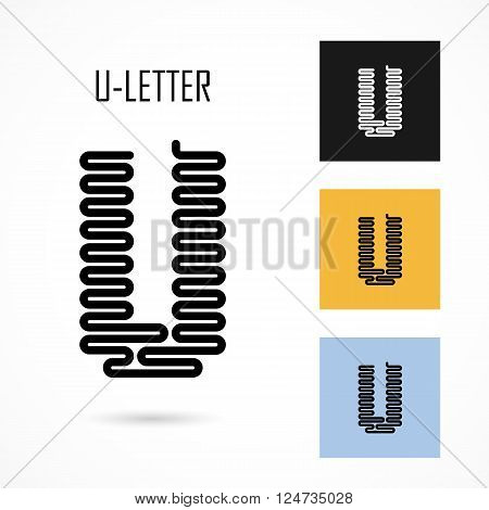 Creative U- letter icon abstract logo design vector template.Creative U- alphabet vector design.Business and education creative logotype symbol.Vector illustration