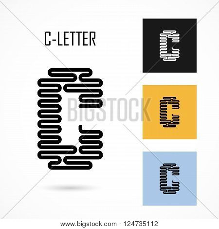 Creative C- letter icon abstract logo design vector template.Creative C- alphabet vector design.Business and education creative logotype symbol.Vector illustration