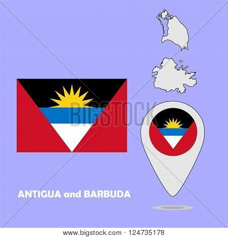 A pointer map and flag of Antigua and Barbuda