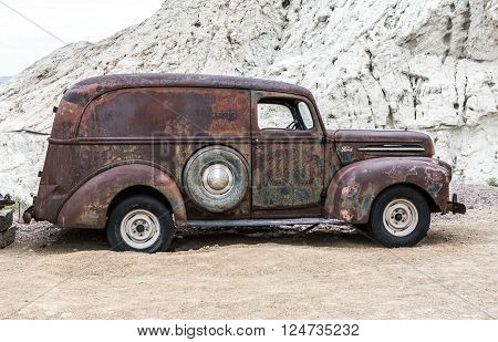 NELSON USA - JUNE 10 : Old rusty truck in Nelson Nevada ghost town on June 10 2015