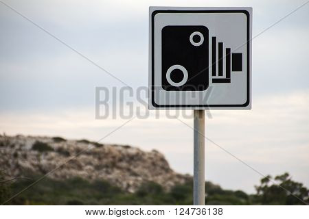 Speed Camera Sign on a road on Cyprus