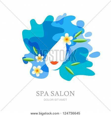 Female Face And Plumeria Flowers On Water Splash Background.