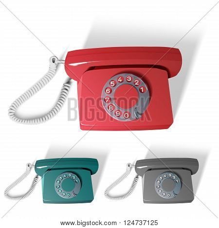 vector illustration, retro phone in different colors