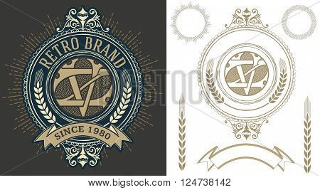 Retro label with monogram and elements layered