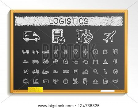Logistic hand drawing line icons. Vector doodle pictogram set. chalk sketch sign illustration on blackboard with hatch symbols, ship, truck, mobile, transport, shipping.