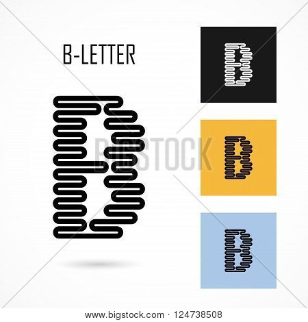 Creative B- letter icon abstract logo design vector template.Creative B- alphabet vector design.Business and education creative logotype symbol.Vector illustration